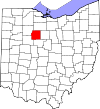 State map highlighting Wyandot County