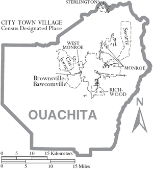 map of ouachita parish louisiana with municipal labels