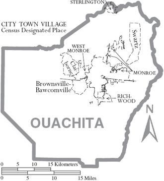 Ouachita Parish, Louisiana - Map of Ouachita Parish, Louisiana With Municipal Labels