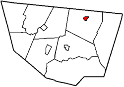 Map of Sullivan County, Pennsylvania highlighting Dushore