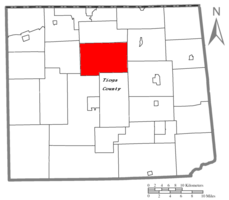 Map of Tioga County Highlighting Middlebury Township