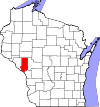 State map highlighting Trempealeau County