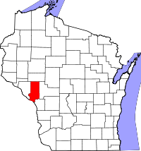 Map of Wisconsin highlighting Trempealeau County.svg