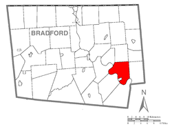 Map of Bradford County with Wyalusing Township highlighted