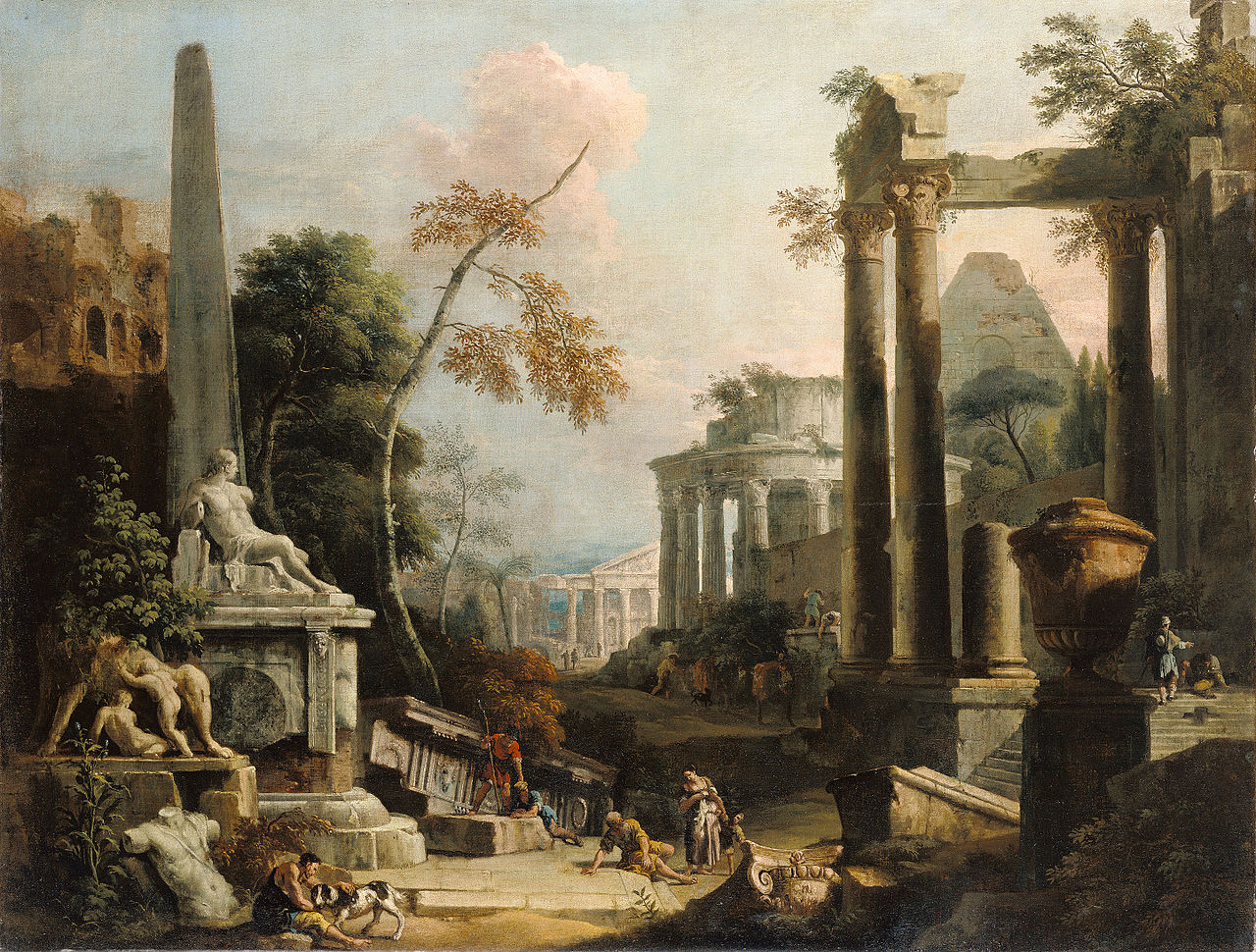 Marco Ricci and Sebastiano Ricci, Landscape with Classical Ruins and Figures,