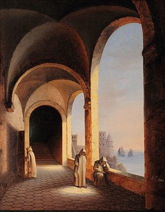 Certosa di San Giacomo - Frères dans la Chartreuse de San Giacomo à Capri, a painting by Princess Caroline of Naples and Sicily