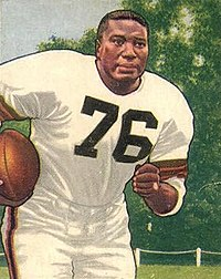 Marion Motley shown running on a 1950 Bowman football card