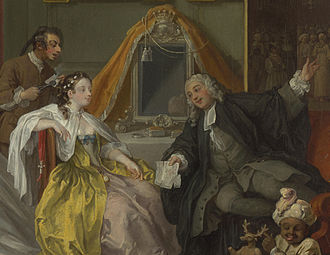 Toilet service - Detail of William Hogarth's Marriage à-la-mode: 4. The Toilette, 1743