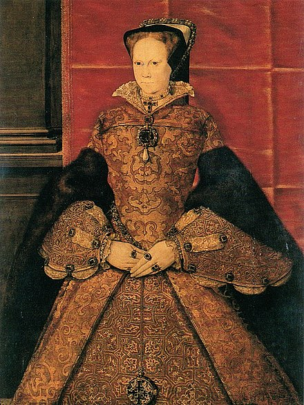Mary by Hans Eworth, 1554. She wears a jewelled pendant bearing a pearl set beneath two diamonds. Mary1 by Eworth 2.jpg