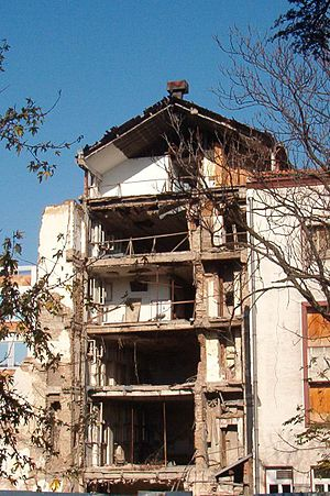 Propaganda during the Yugoslav Wars - Building of RTS which was destroyed by NATO on 24 April 1999.