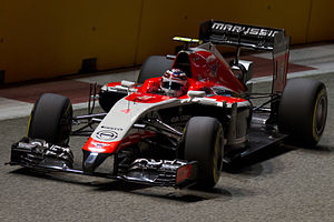 Marussia MR03 - Max Chilton driving the MR03 at the 2014 Singapore Grand Prix