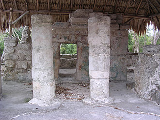 San Gervasio (Maya site) - Las Manitas (the hand prints are visible in the back, right of the right column)