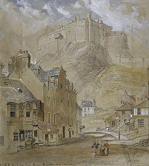 Grassmarket - Western end of Grassmarket, painted in 1845
