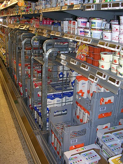 The milk section in a Swedish grocery store. Mejeriprodukter i Skansk butik.jpg