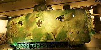 """Mephisto (tank) - """"Mephisto"""" on display in the Australian War Memorial, July 2015."""