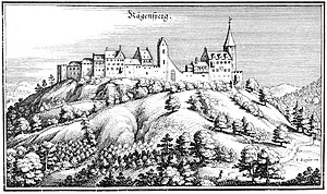 Matthäus Merian - The castle and the town of Regensberg in Topographia Helvetiae, 1645