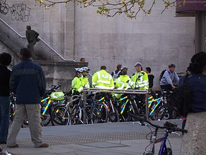 Conflicts involving Critical Mass - Metropolitan Police officers with their cycles awaiting the start of Critical Mass London, April 2006.