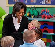 Michelle Obama at Prager Child Development Center, Ft. Bragg 3-12-09