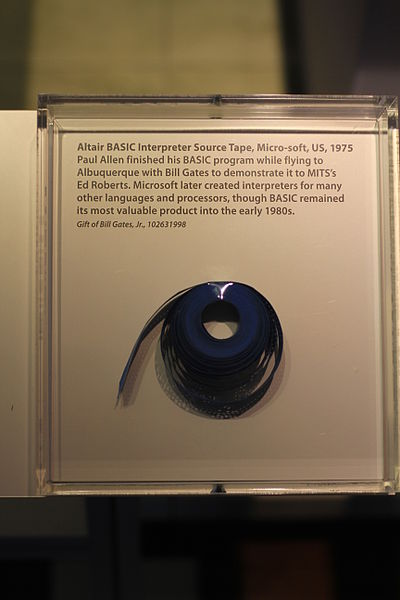 Αρχείο:Micro-soft Altair BASIC Interpreter Source Tape (1975) - Computer History Museums.jpg