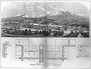 Friern Hospital - Drawing and floor plan of the Middlesex County Lunatic Asylum