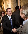 Mike Huckabee, greeting a guest at the Commonwealth Club in San Francisco.jpg