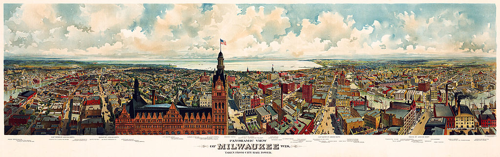 Panorama map of Milwaukee, with a view of the City Hall tower, c. 1898