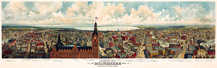 Panoramic view of Milwaukee, Wis. Taken from City Hall tower c1898