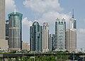 Minor skyscrapers in Lujiazui, Shanghai as seen from Lujiazui Pedestrian Bridge 20120602 1.jpg