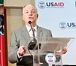 Mission Director John Groarke speaking at the inaugural ceremony (34307735440).jpg