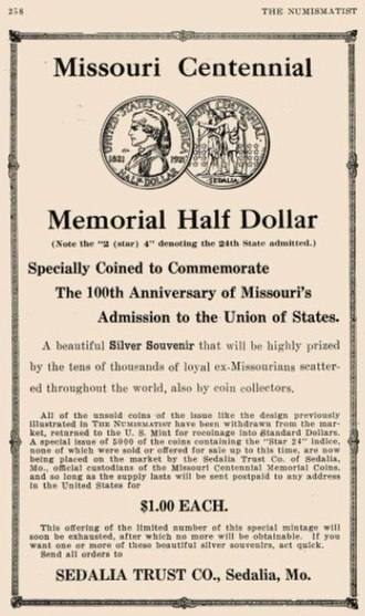 Missouri Centennial half dollar - May 1922 advertisement for the 2★4 coins, with the design as issued