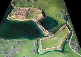 Kenilworth Castle - A reconstruction of Kenilworth Castle, as it would have appeared around 1575–80