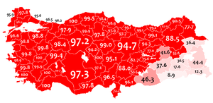 Turkish population - The 1965 Turkish census was the last census in which people were asked about their mother tongue. This map shows the distribution of people who spoke Turkish during this period.