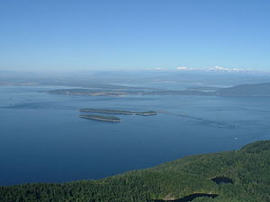 Orcas Island - View eastwards from Mount Constitution over the Rosario Strait with Mount Baker visible