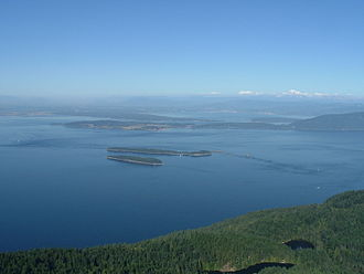 Orcas Island - View eastward from Mount Constitution over the Rosario Strait with Mount Baker visible