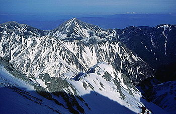English: Mount_Jonen_from_Mount_Yari_1995-5-4 ...