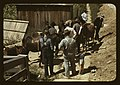 """Mountaineers and farmers trading mules and horses on """"Jockey St.,"""" near the Court House, (Campton), Wolfe County, Ky. LCCN2017877562.jpg"""