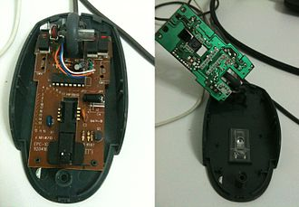 Printed circuit board - A PCB in a computer mouse: the component side (left) and the printed side (right)
