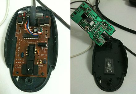 printed circuit board wikiwanda pcb in a computer mouse the component side (left) and the printed
