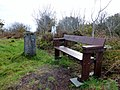 Moyle Hill Fort, Trig Point, path, and seat, Colvend and Southwick.jpg