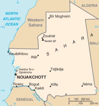 Geography of Mauritania - Map of Mauritania