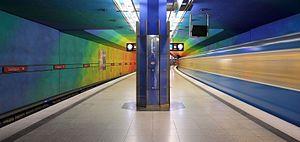 Candidplatz (Munich U-Bahn) - Colorful platform at Candidplatz station.