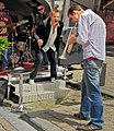 Musicians on the Brussels street. Belgian National Day. 2012.jpg