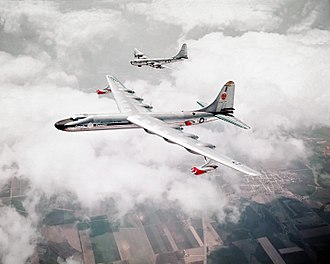 Aircraft Nuclear Propulsion - The NB-36H in a test flight, shadowed by a Boeing B-50 Superfortress