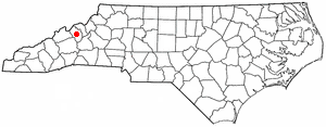 Burnsville, North Carolina - Image: NC Map doton Burnsville