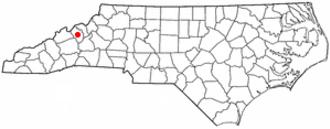 Burnsville, North Carolina - Image: NC Map doton Burnsville