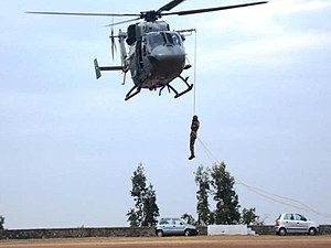National Disaster Response Force - NDRF personnel undergoing Heli-slithering Training