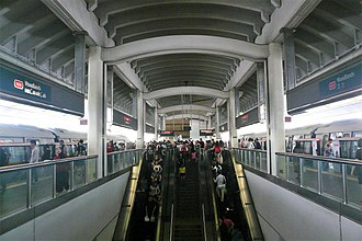North South MRT line - Two C151B trains at Woodlands, which is one of the most crowded stations of the line.
