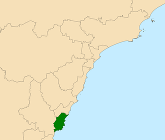 Electoral district of Terrigal - Location in the Central Coast region