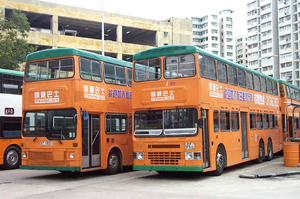 Training bus - Two training buses of New World First Bus in Hong Kong.