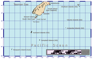 Map of New Zealand's subantarctic outlying islands